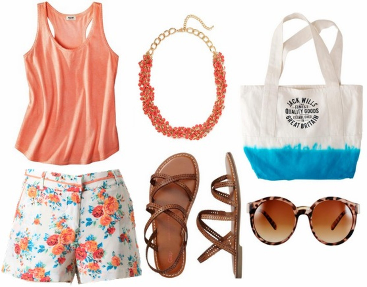white-shorts-orange-top-tank-bib-necklace-white-bag-tote-brown-shoe-sandals-sun-print-floral-howtowear-fashion-spring-summer-style-outfit-weekend.jpg