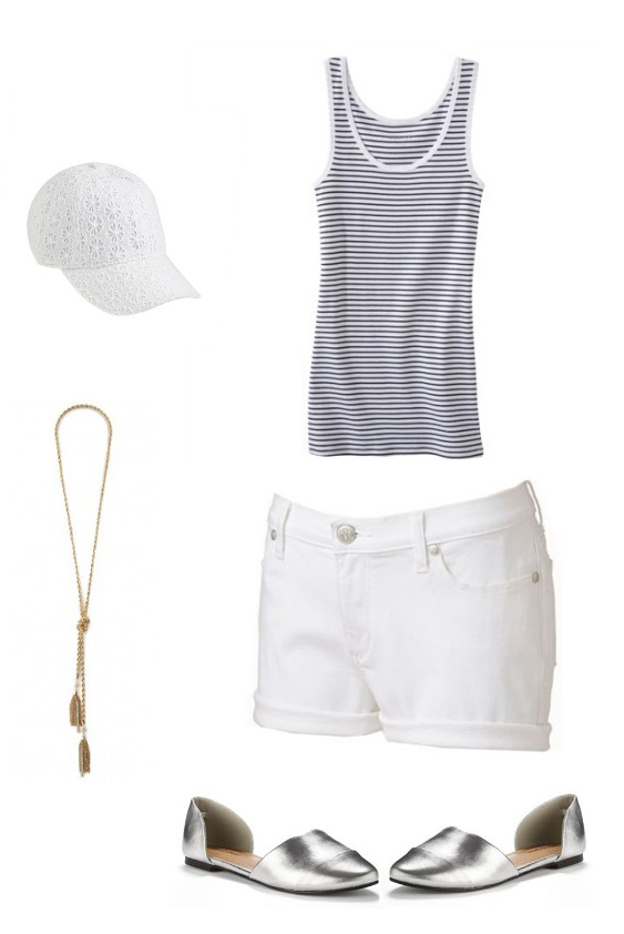 white-shorts-blue-navy-top-tank-stripe-hat-cap-necklace-gray-shoe-flats-metallic-howtowear-fashion-style-outfit-spring-summer-weekend.jpg