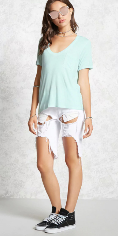 white-shorts-bermuda-denim-destroyed-choker-sun-black-shoe-sneakers-green-light-tee-spring-summer-hairr-weekend.jpg