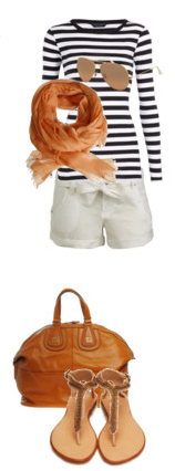 white-shorts-black-tee-stripe-sun-orange-scarf-cognac-bag-tan-shoe-sandals-howtowear-fashion-style-outfit-spring-summer-weekend.jpg