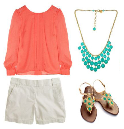 white-shorts-orange-top-blouse-bib-necklace-turquoise-tan-shoe-sandals-howtowear-fashion-style-outfit-spring-summer-lunch.jpg
