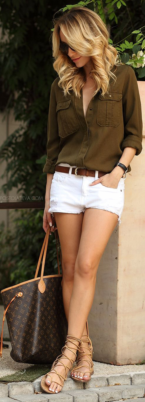 white-shorts-belt-tan-shoe-sandals-blonde-brown-bag-tote-brown-collared-shirt-spring-summer-weekend.jpg