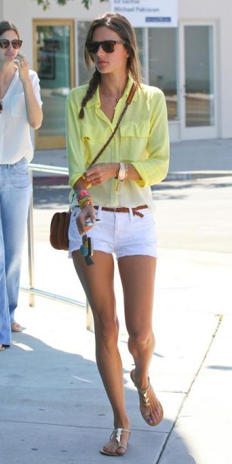 alessandraambrosio-white-shorts-belt-braid-hairr-cognac-bag-tan-shoe-sandals-yellow-collared-shirt-spring-summer-weekend.jpg