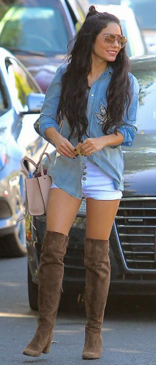 white-shorts-blue-light-collared-shirt-chambray-sun-brown-shoe-boots-overknee-vanessahudgens-fall-winter-brun-lunch.jpg