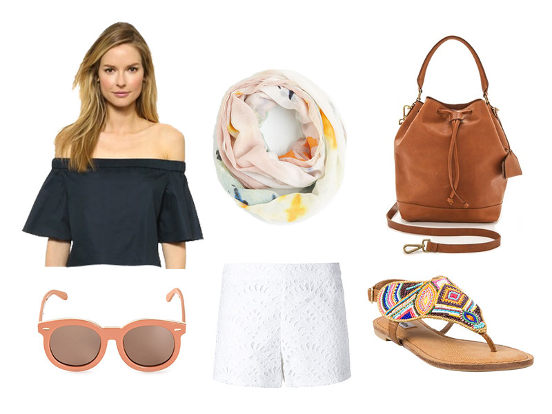 white-shorts-blue-navy-top-offshoulder-cognac-bag-sun-tan-shoe-sandals-white-scarf-print-howtowear-fashion-style-outfit-spring-summer-weekend.jpg