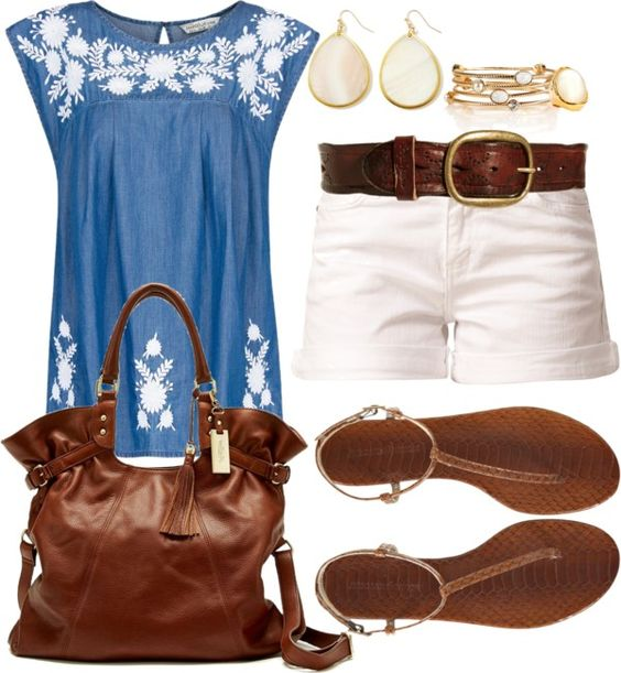 white-shorts-blue-med-top-denim-belt-cognac-shoe-sandals-brown-bag-earrings-bracelet-howtowear-fashion-style-outfit-spring-summer-weekend.jpg