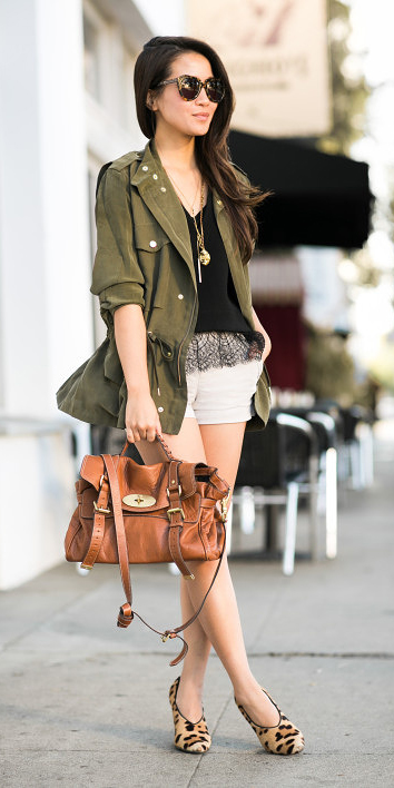 white-shorts-cognac-bag-tan-shoe-pumps-leopard-print-black-cami-green-olive-jacket-utility-brun-sun-fall-winter-lunch.jpg