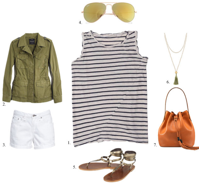 white-shorts-blue-navy-tee-stripe-howtowear-fashion-style-outfit-spring-summer-tan-shoe-sandals-cognac-bag-necklace-sun-green-olive-jacket-utility-denim-weekend.jpg