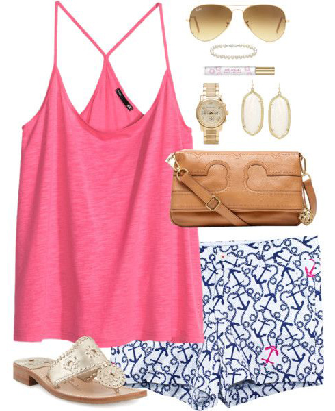 blue-navy-shorts-r-pink-magenta-top-tank-print-cognac-bag-tan-shoe-sandals-earrings-sun-watch-howtowear-fashion-style-outfit-spring-summer-weekend.jpg