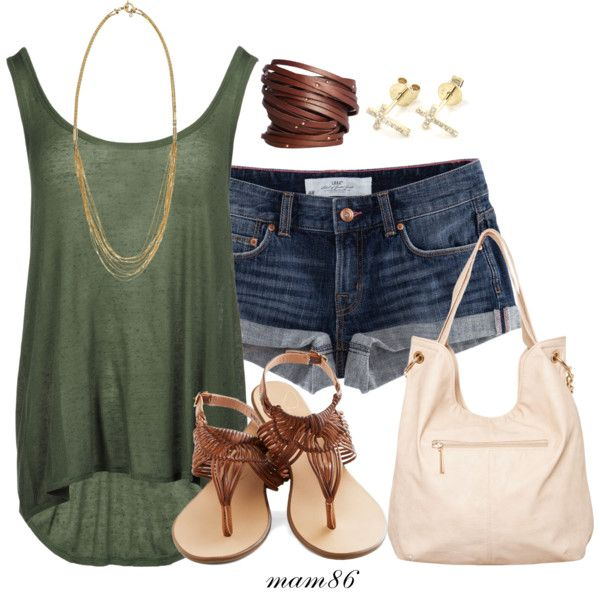 blue-navy-shorts-green-olive-top-tank-white-bag-brown-shoe-sandals-studs-necklace-denim-howtowear-fashion-style-outfit-spring-summer-weekend.jpg