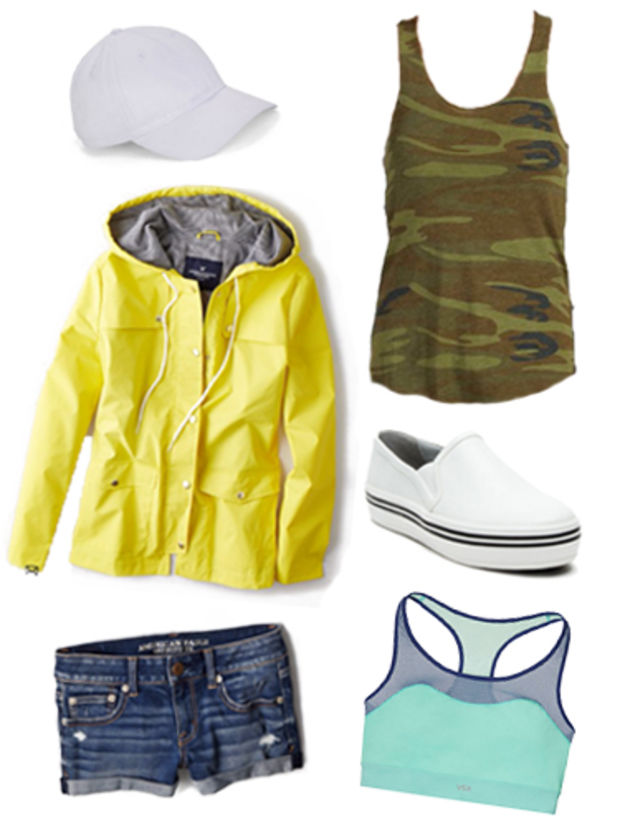 blue-navy-shorts-green-olive-top-tank-camo-yellow-jacket-rain-hat-cap-white-shoe-sneakers-sportsbra-green-bralette-howtowear-fashion-style-outfit-spring-summer-denim-weekend.jpg