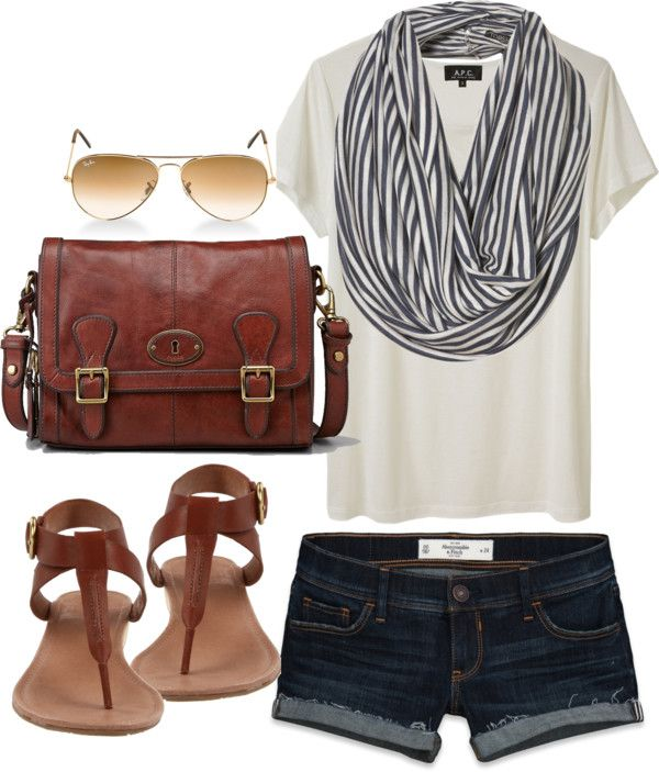 blue-navy-shorts-white-tee-blue-med-scarf-stripe-denim-brown-bag-brown-shoe-sandals-sun-howtowear-fashion-style-outfit-spring-summer-weekend.jpg