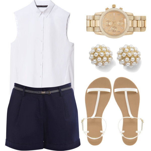 blue-navy-shorts-white-top-blouse-white-shoe-sandals-studs-pearl-watch-tailor-howtowear-fashion-style-spring-summer-outfit-lunch.jpg