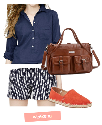 blue-navy-shorts-blue-navy-top-blouse-howtowear-fashion-style-outfit-spring-summer-orange-shoe-flats-brown-bag-print-hairr-weekend.jpg