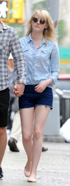 blue-navy-shorts-denim-blue-light-collared-shirt-tan-shoe-flats-emmastone-spring-summer-blonde-weekend.jpg