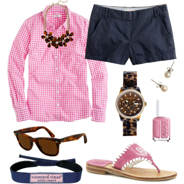 blue-navy-shorts-pink-light-collared-shirt-gingham-print-bib-necklace-magenta-shoe-sandals-sun-watch-nail-pearl-studs-howtowear-fashion-style-outfit-spring-summer-lunch.jpg