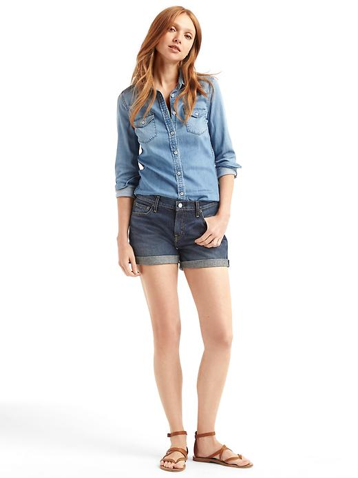blue-navy-shorts-blue-light-collared-shirt-howtowear-fashion-style-outfit-spring-summer-cognac-shoe-sandals-denim-hairr-weekend.jpg