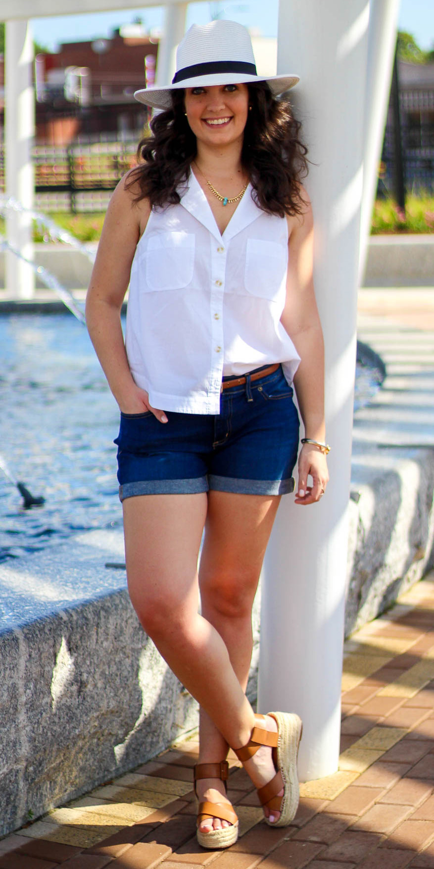 how-to-style-blue-navy-shorts-cognac-shoe-sandalw-white-top-brun-hat-necklace-spring-summer-fashion-weekend.jpg