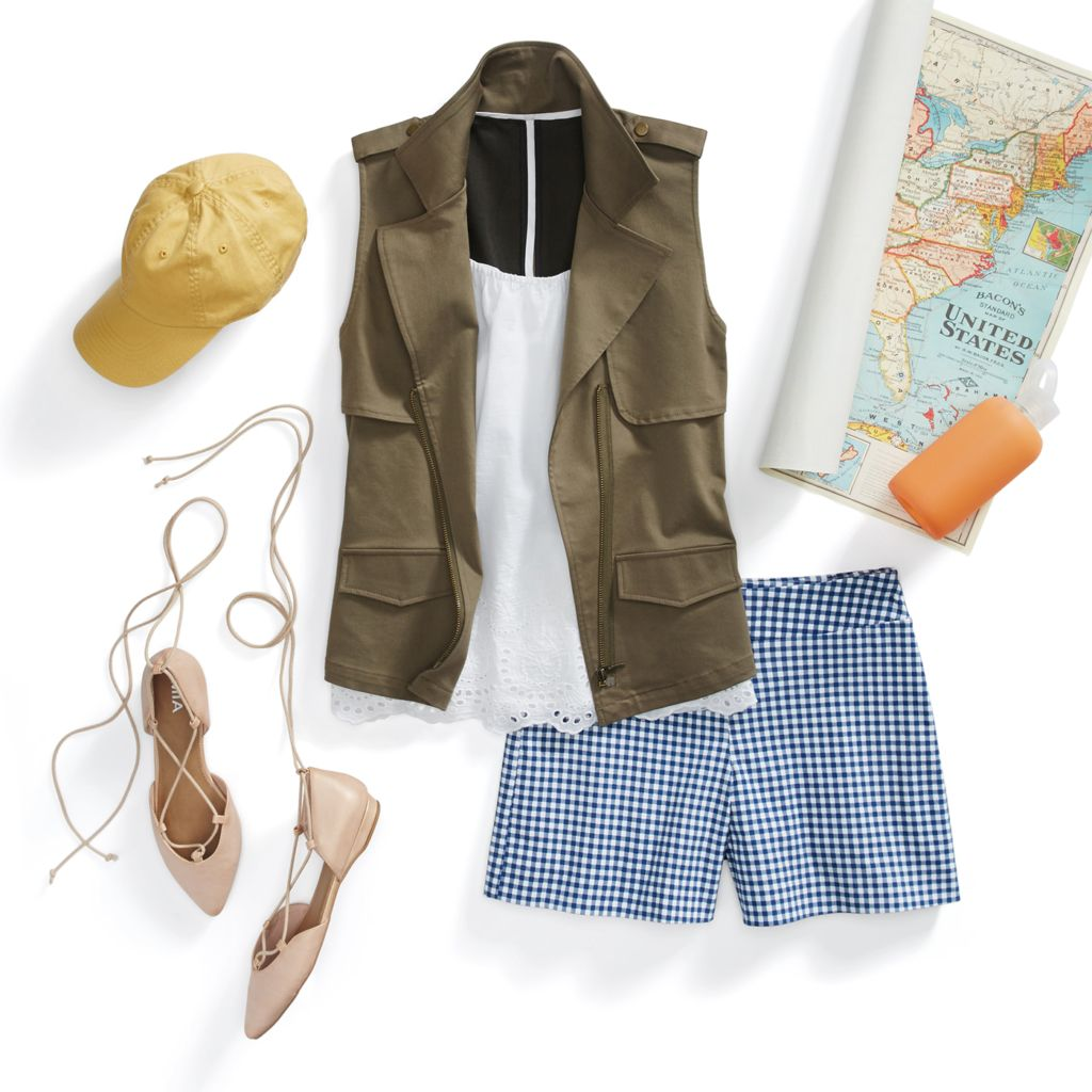 blue-med-shorts-gingham-print-white-cami-green-olive-vest-utility-hat-cap-tan-shoe-flats-spring-summer-weekend.jpg
