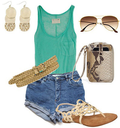 blue-med-shorts-green-emerald-top-tank-belt-earrings-sun-tan-shoe-sandals-denim-cutoff-howtowear-spring-summer-fashion-style-outfit-weekend.jpg