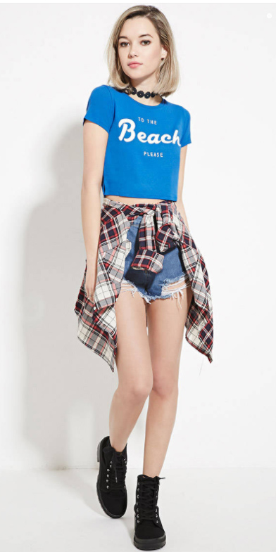 blue-med-shorts-denim-red-plaid-shirt-choker-black-shoe-sneakers-blue-med-graphic-tee-choker-lob-fall-winter-blonde-weekend.jpg
