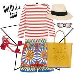 blue-med-shorts-red-tee-stripe-howtowear-fashion-style-outfit-spring-summer-red-shoe-sandals-yellow-bag-tote-hat-panama-print-mix-lunch.jpg