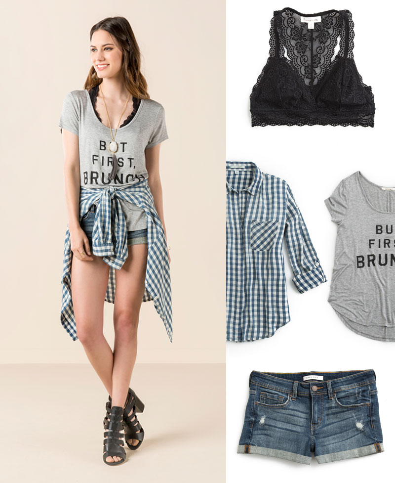blue-med-shorts-grayl-graphic-tee-black-bralette-hairr-blue-med-plaid-shirt-black-shoe-sandalh-necklace-pend-spring-lunch.jpg