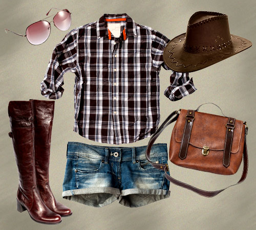 blue-med-shorts-o-brown-plaid-shirt-brown-shoe-boots-sun-hat-cognac-bag-country-concert-howtowear-fashion-style-outfit-spring-summer-weekend.jpg