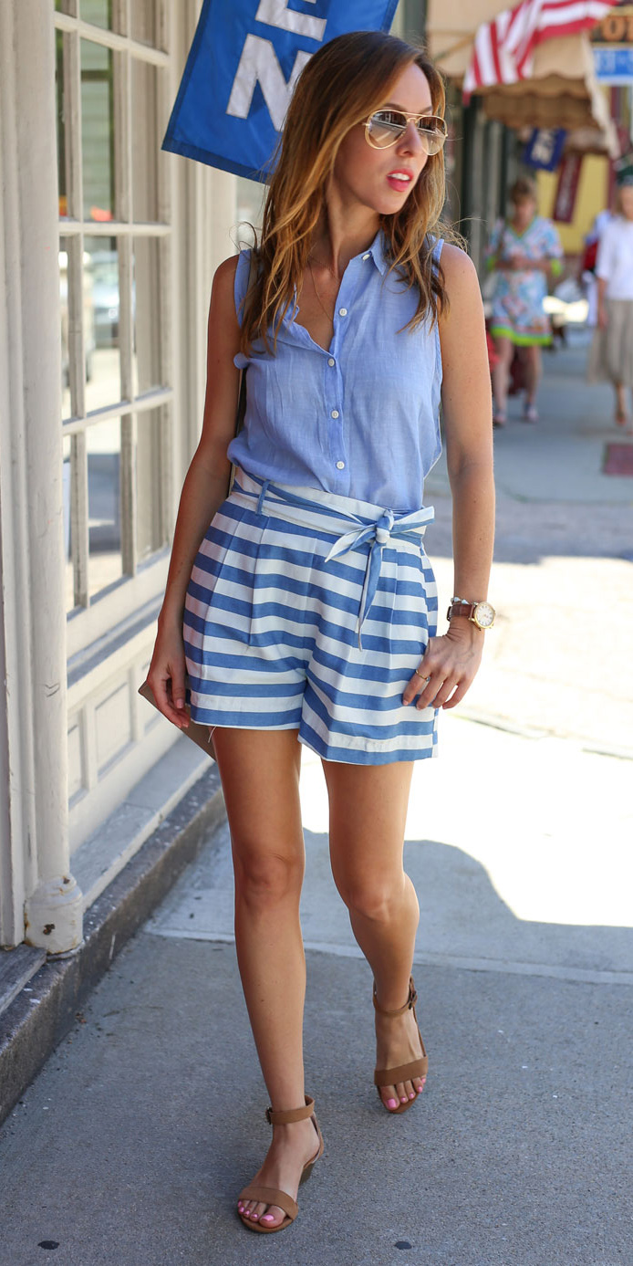how-to-style-blue-med-shorts-stripe-blue-light-top-hairr-sun-cognac-shoe-sandals-watch-spring-summer-fashion-weekend.jpg