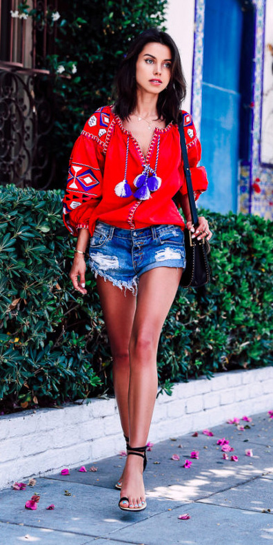 blue-med-shorts-denim-red-top-blouse-peasant-brun-black-bag-black-shoe-sandalh-spring-summer-lunch.jpg
