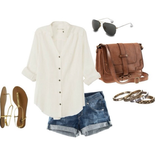 blue-med-shorts-white-top-denim-brown-bag-bracelet-sun-tan-shoe-sandals-howtowear-fashion-style-outfit-spring-summer-weekend.jpg
