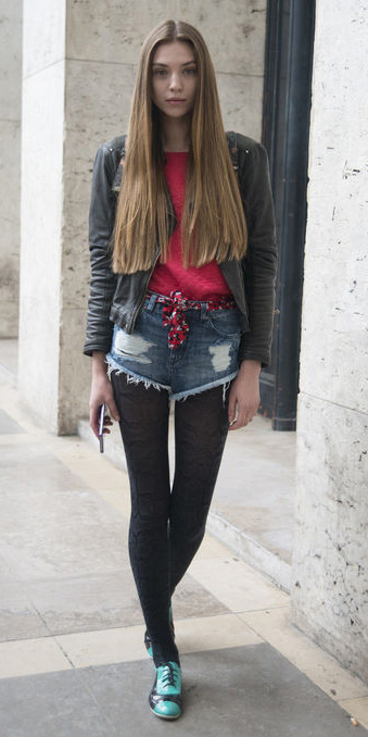 blue-med-shorts-denim-scarfasbelt-red-sweater-black-jacket-moto-hairr-black-tights-green-shoe-brogues-fall-winter-weekend.jpg