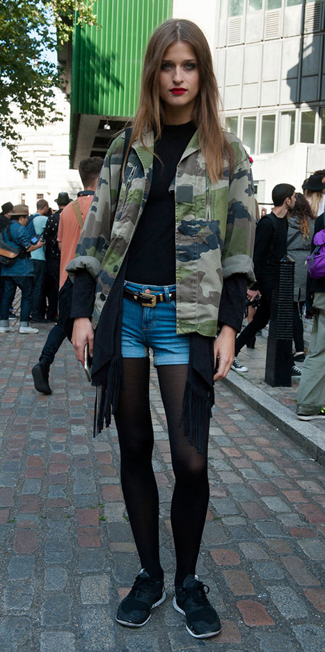 blue-med-shorts-denim-black-tee-belt-camo-print-hairr-black-tights-black-shoe-sneakers-green-olive-jacket-utility-fall-winter-weekend.jpg