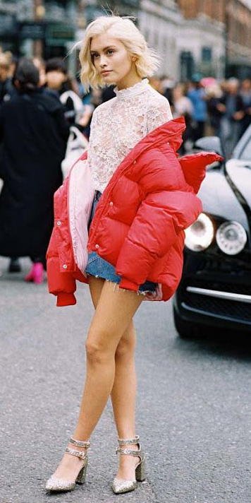 how-to-style-blue-med-shorts-denim-white-top-blouse-lace-blonde-bob-red-jacket-puffer-tan-shoe-pumps-gold-fall-winter-fashion-lunch.jpg