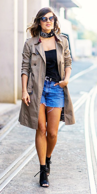 blue-med-shorts-belt-black-tank-black-shoe-sandalh-sun-hairr-black-scarf-neck-bandana-tan-jacket-coat-trench-fall-winter-lunch.jpg