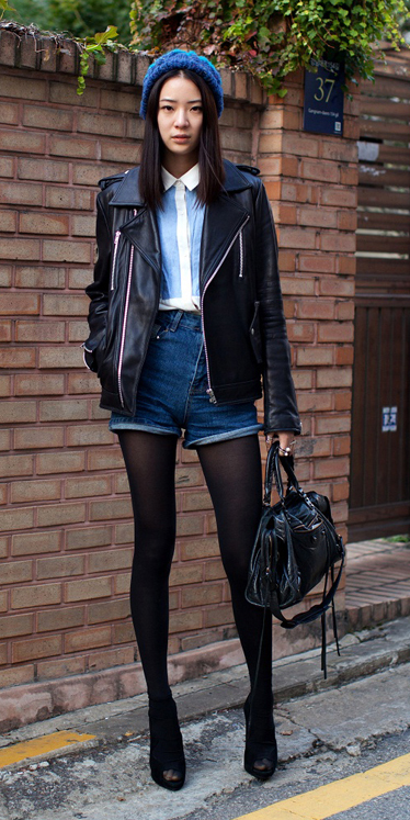 blue-med-shorts-denim-blue-light-collared-shirt-black-jacket-moto-black-tights-black-shoe-pumps-beanie-black-bag-brun-fall-winter-lunch.jpg