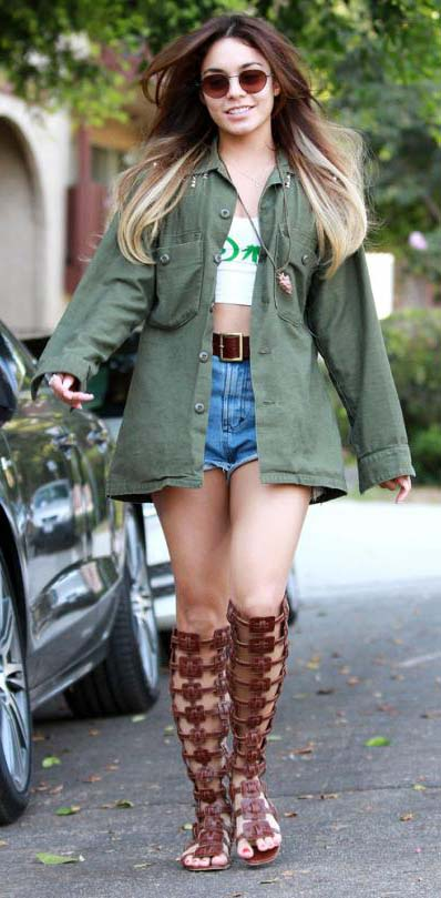 blue-med-shorts-denim-cutoff-brown-shoe-sandals-gladiator-white-top-crop-belt-green-olive-jacket-utility-sun-vanessahudgens-spring-summer-brun-weekend.jpg