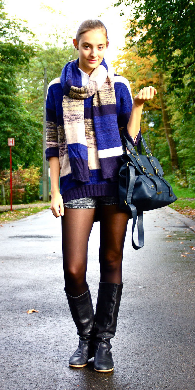 blue-med-shorts-blue-med-sweater-stripe-blue-med-scarf-hairr-pony-blue-bag-black-tights-black-shoe-boots-fall-winter-weekend.jpg