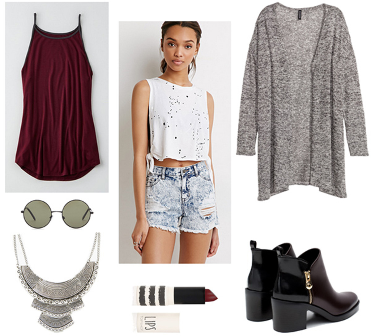blue-light-shorts-r-burgundy-top-tank-grayl-cardiganl-bib-necklace-black-shoe-booties-sun-howtowear-fashion-style-outfit-fall-winter-weekend.jpg