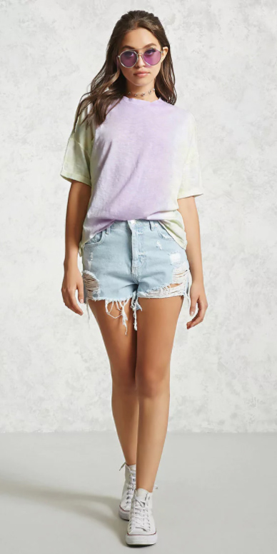 blue-light-shorts-denim-cutoff-purple-light-tee-tiedye-sun-white-shoe-sneakers-spring-summer-hairr-weekend.jpg