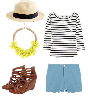blue-light-shorts-black-tee-stripe-bib-necklace-cognac-shoe-sandalw-hat-panama-scallop-howtowear-fashion-style-spring-summer-outfit-lunch.jpg