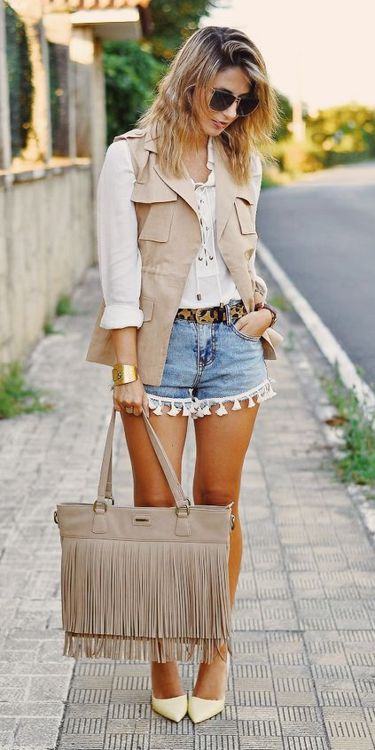 blue-light-shorts-belt-leopard-print-tan-bag-white-top-blouse-peasant-blonde-white-shoe-pumps-tan-vest-utility-spring-summer-lunch.jpg