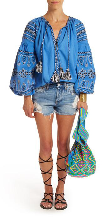 blue-light-shorts-blue-med-top-blouse-peasant-black-shoe-sandals-green-bag-denim-spring-summer-weekend.jpg
