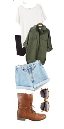 blue-light-shorts-denim-white-tee-green-olive-collared-shirt-socks-cognac-shoe-booties-sun-fall-winter-weekend.jpg