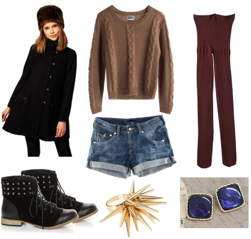 blue-light-shorts-tan-sweater-black-jacket-coat-burgundy-tights-black-shoe-booties-studs-howtowear-fashion-style-outfit-fall-winter-denim-hairr-weekend.jpg