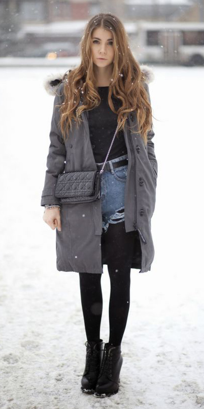 blue-light-shorts-denim-belt-black-bag-grayd-jacket-coat-parka-hairr-black-tights-snow-black-shoe-booties-black-tee-fall-winter-weekend.jpg