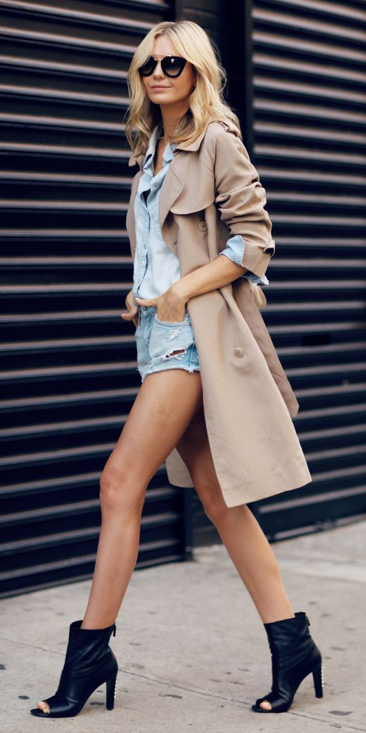 blue-light-shorts-blue-light-collared-shirt-blonde-sun-black-shoe-booties-tan-jacket-coat-trench-spring-summer-lunch.jpg