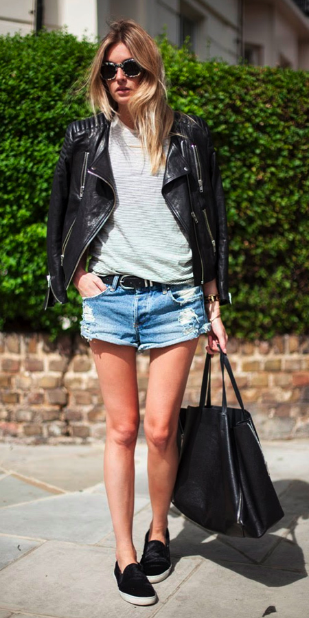 blue-light-shorts-belt-white-tee-black-jacket-moto-black-bag-tote-sun-blonde-black-shoe-sneakers-spring-summer-weekend.jpg