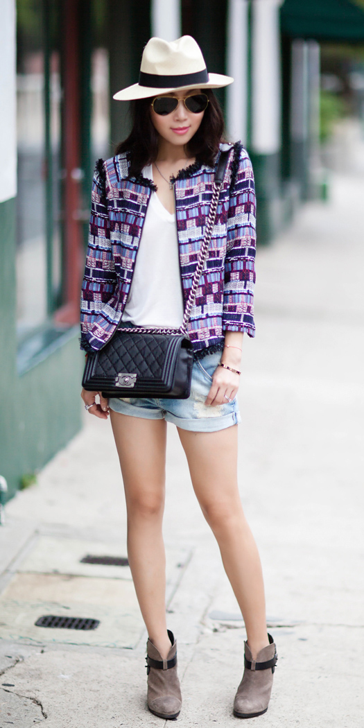 blue-light-shorts-white-tee-hat-panama-sun-brun-black-bag-tan-shoe-booties-purple-royal-jacket-lady-spring-summer-weekend.jpg