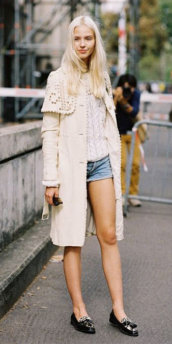 blue-light-shorts-white-sweater-blonde-black-shoe-loafers-white-jacket-coat-trench-spring-summer-lunch.jpg